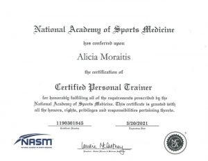 National Academy of Sports Medicine Certificate
