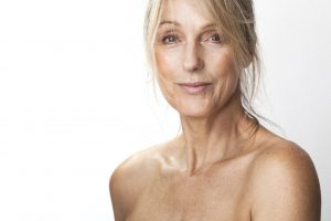 Mature Older Woman with Bare Shoulders
